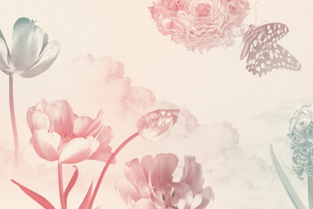 Wiosenne kwiaty na różowym tle