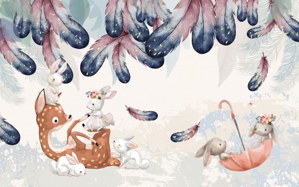 Leśne zwierzęta i kolorowe piórka