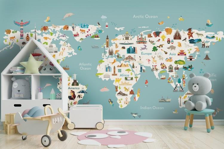 Fototapeta kolorowa mapa świata